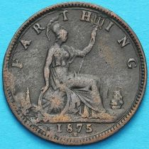 Великобритания 1 фартинг 1875 год. Н.