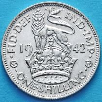 Великобритания 1 шиллинг 1942 год. Английский герб. Серебро.