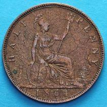 Великобритания 1/2 пенни 1864 год.