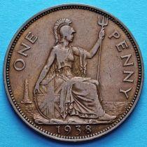 Великобритания 1 пенни 1938 год.