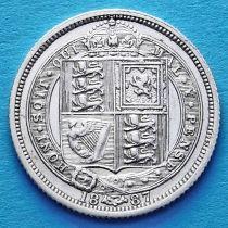 Великобритания 6 пенсов 1887 год. Герб на реверсе. Серебро