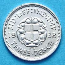 Великобритания 3 пенса 1938 год. Серебро.