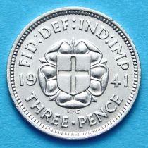 Великобритания 3 пенса 1941 год. Серебро.