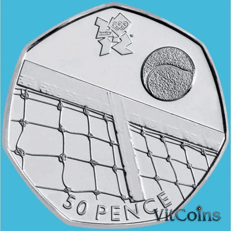 Монета Великобритании 50 пенсов 2011 год. Олимпиада.  Теннис. Блистер