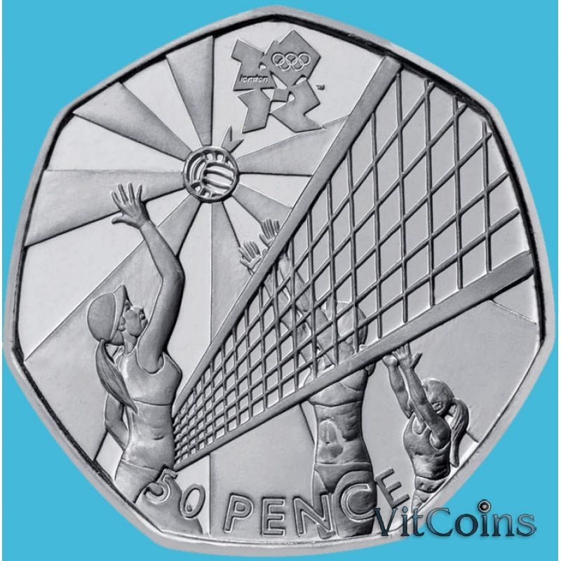Монета Великобритании 50 пенсов 2011 год. Олимпиада. Волейбол. Блистер