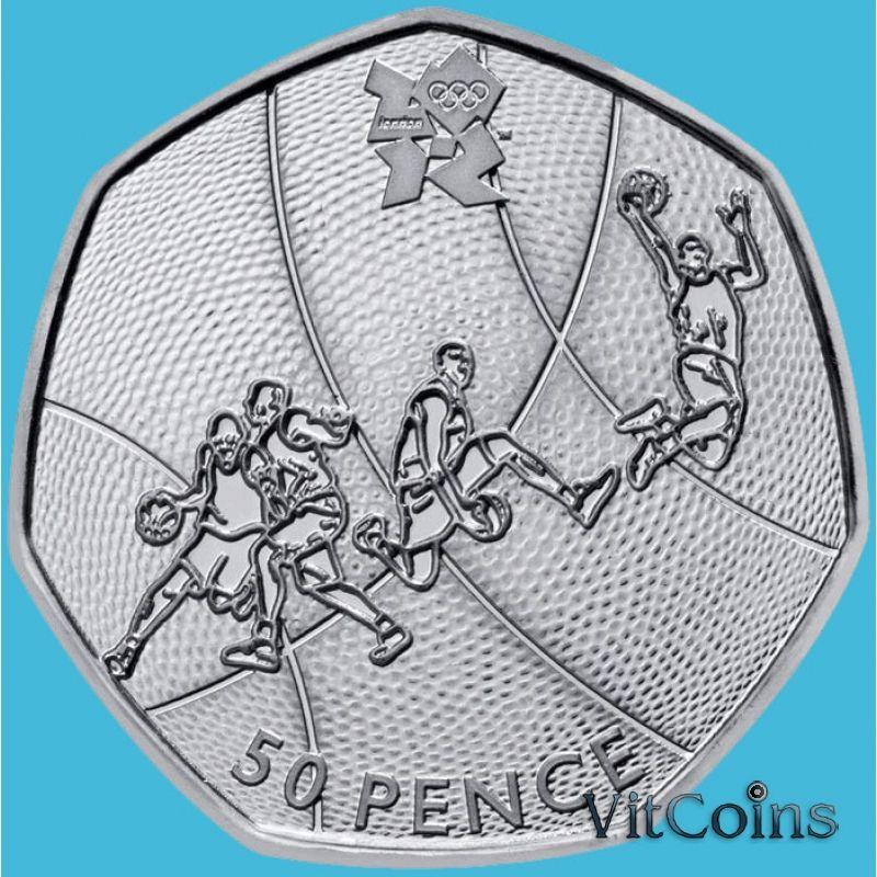 Монета Великобритании 50 пенсов 2011 год. Олимпиада. Баскетбол. Блистер
