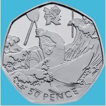 Великобритания 50 пенсов 2011 год. Олимпиада. Гребля на байдарках и каноэ. Блистер