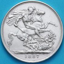 Великобритания 1 крона 1887 год. Георгий Победоносец. Серебро.