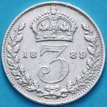 Великобритания 3 пенса 1889 год. Серебро