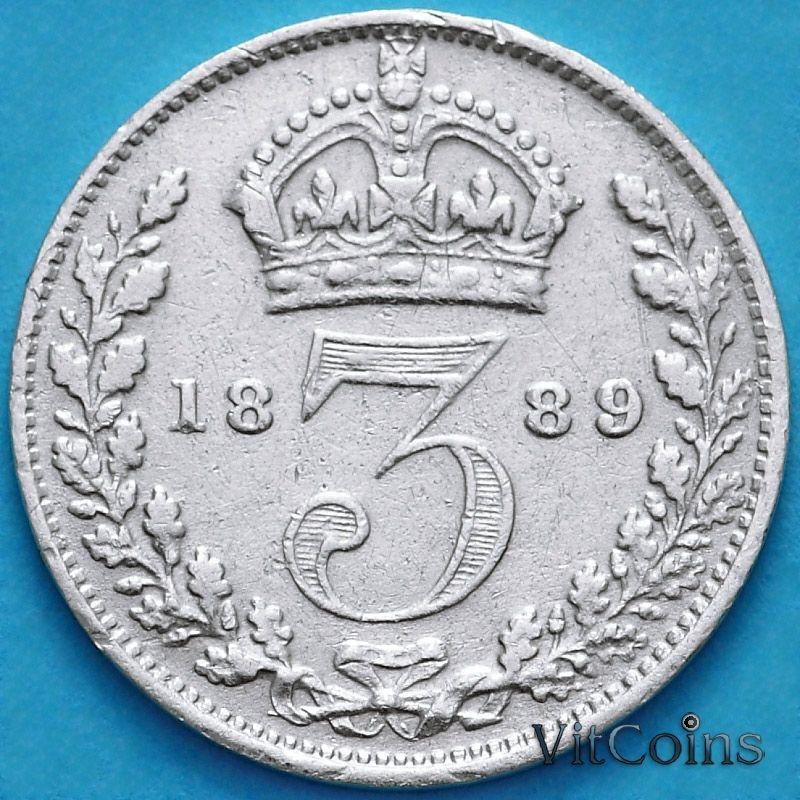 Монета Великобритания 3 пенса 1889 год. Серебро