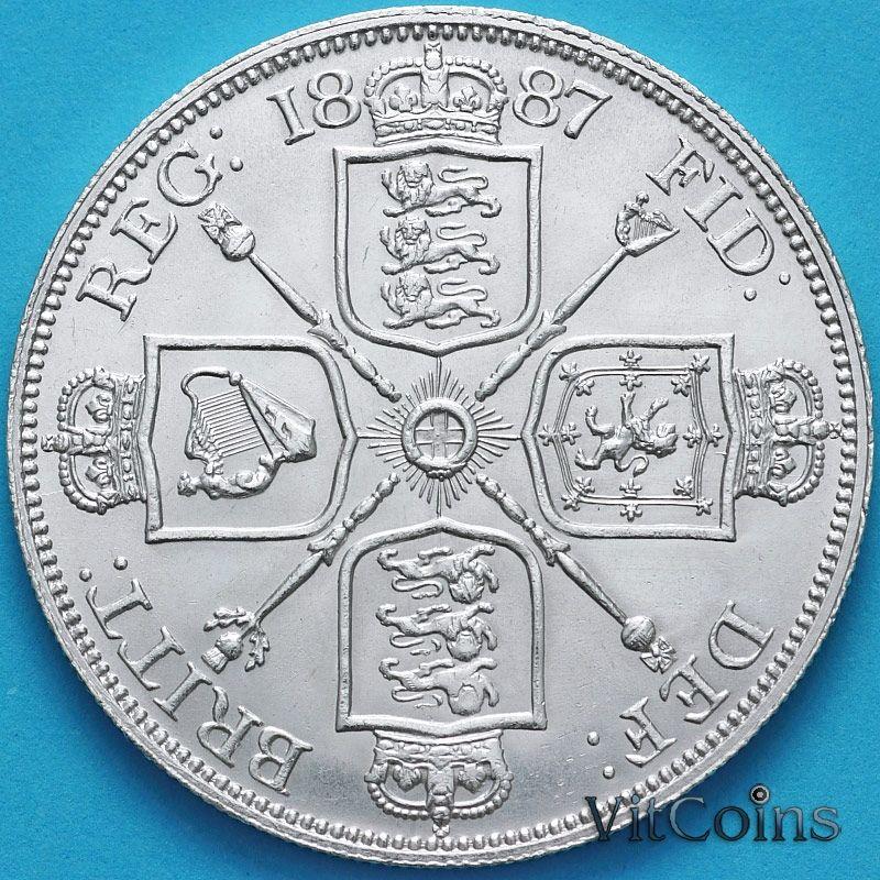 Серебряная монета Великобритании двойной флорин (4 шиллинга) 1887 год. Серебро.