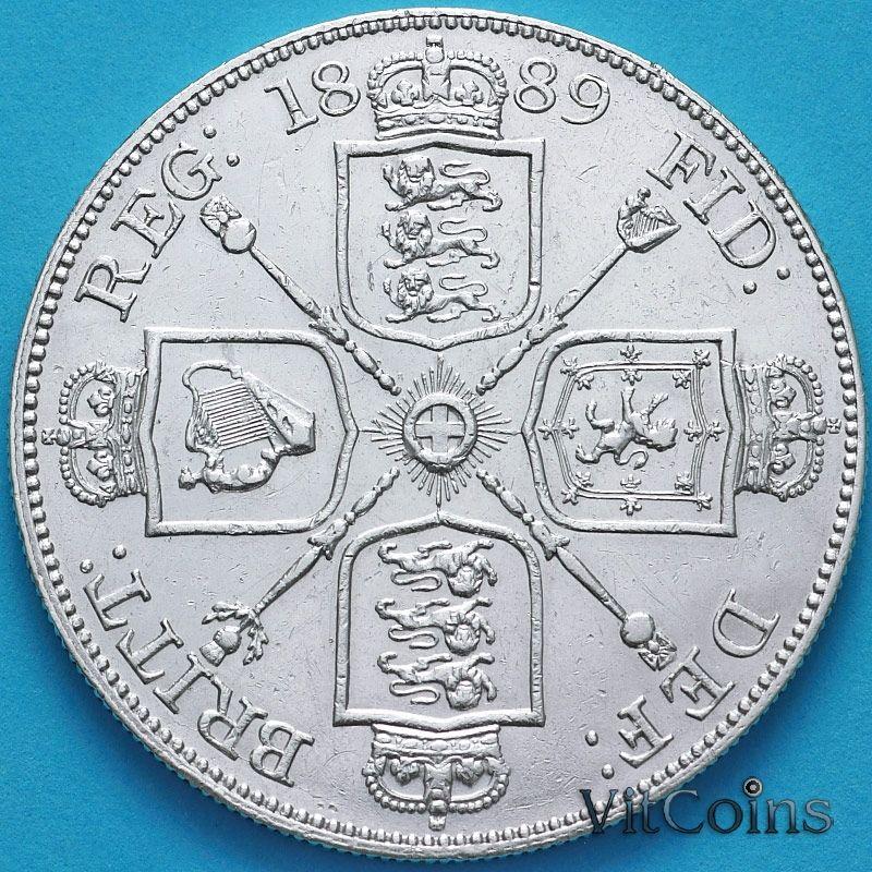 Серебряная монета Великобритании двойной флорин (4 шиллинга) 1889 год. Серебро.