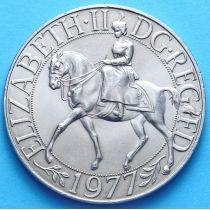 Великобритания 25 пенсов 1977 год. Елизавета на коне