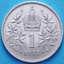 Австрия 1 крона 1912 год. Серебро.