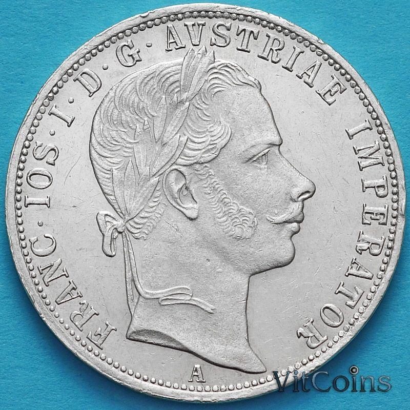 Монета Австрии 1 флорин 1859 год. Вена. Серебро