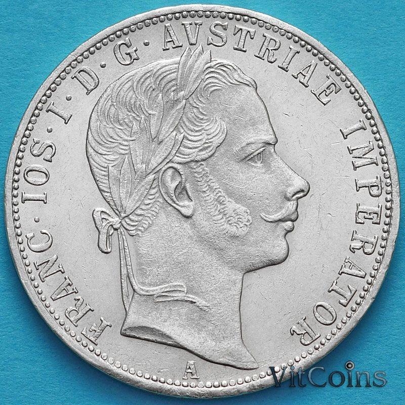 Монета Австрии 1 флорин 1860 год. Вена. Серебро