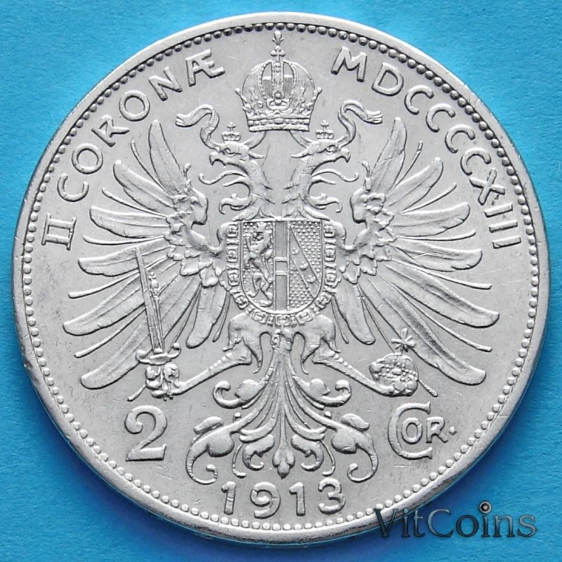 Монета Австрия 2 кроны 1913 год.