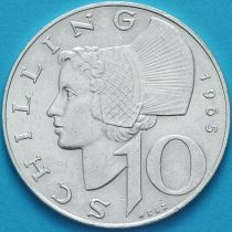 Австрия 10 шиллингов 1965 год. Серебро.