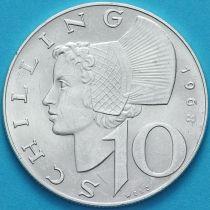 Австрия 10 шиллингов 1968 год. Серебро.