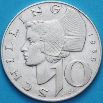 Австрия 10 шиллингов 1959 год. Серебро.