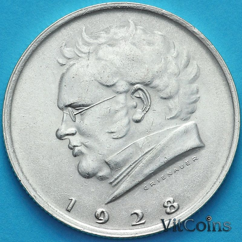 Монета Австрия 2 шиллинга 1928 год. Франц Шуберт. Серебро.