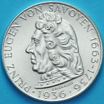 Австрия 2 шиллинга 1936 год. Принц Евгений Савойский. Серебро.