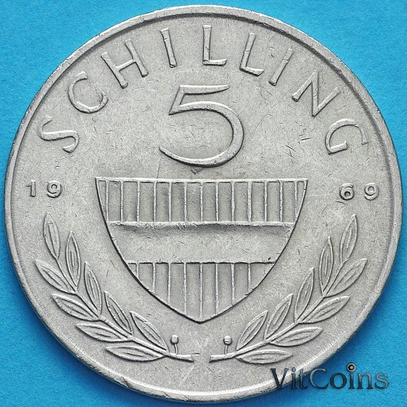 Монета Австрия 5 шиллингов 1969 год.
