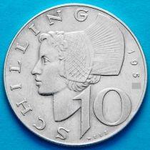 Австрия 10 шиллингов 1958 год. Серебро.