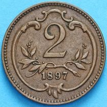 Австрия 2 геллера 1899 год.