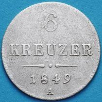 Австрия 6 крейцеров 1849 год. А.