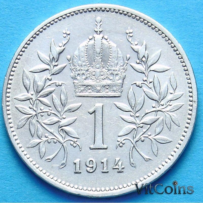 Монета Австрии 1 крона 1914 год. Серебро.