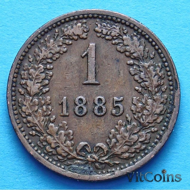 Монета Австрия 1 крейцер 1885 год.