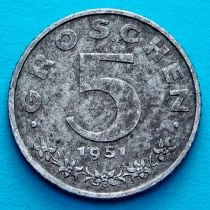 Австрия 5 грошей 1951 год.