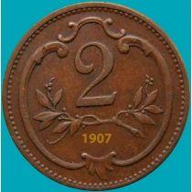 Австрия 2 геллера 1907 год.