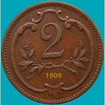 Австрия 2 геллера 1909 год.