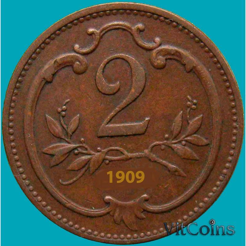 Монета Австрия 2 геллера 1909 год.