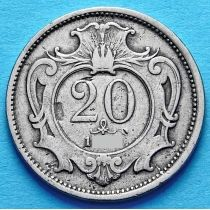 Австрия 20 геллеров 1907 год.