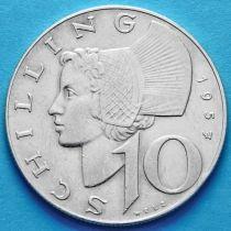 Австрия 10 шиллингов 1957-1958 год. Серебро.