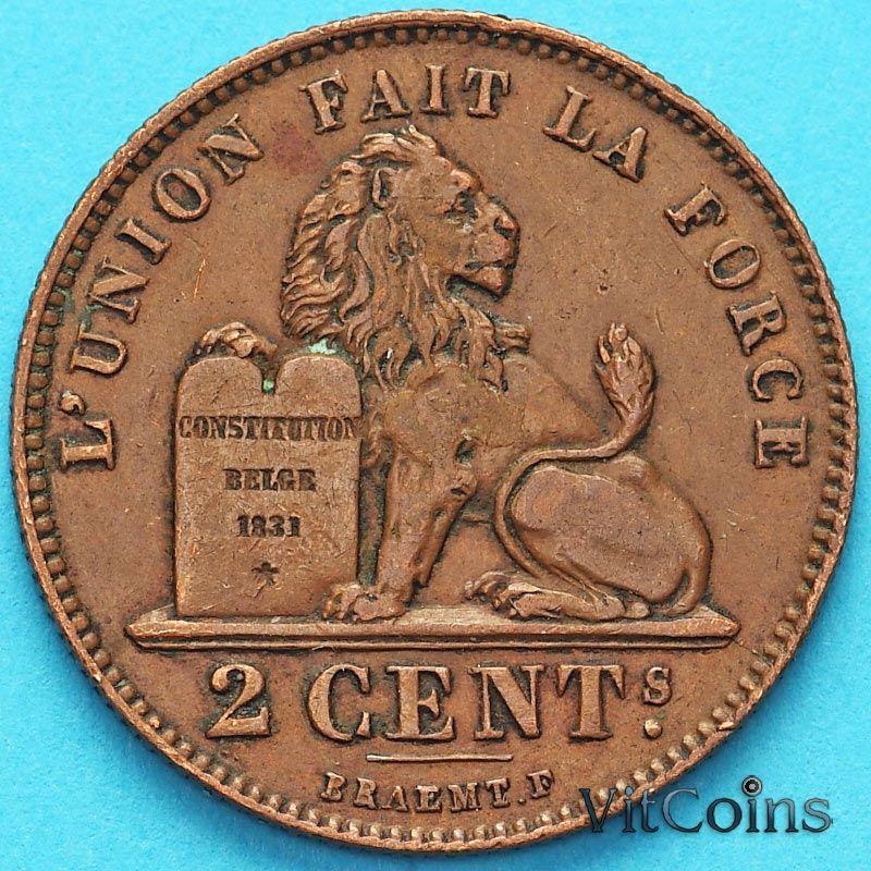Монета Бельгии 2 сантима 1912 год. Французский вариант XF+