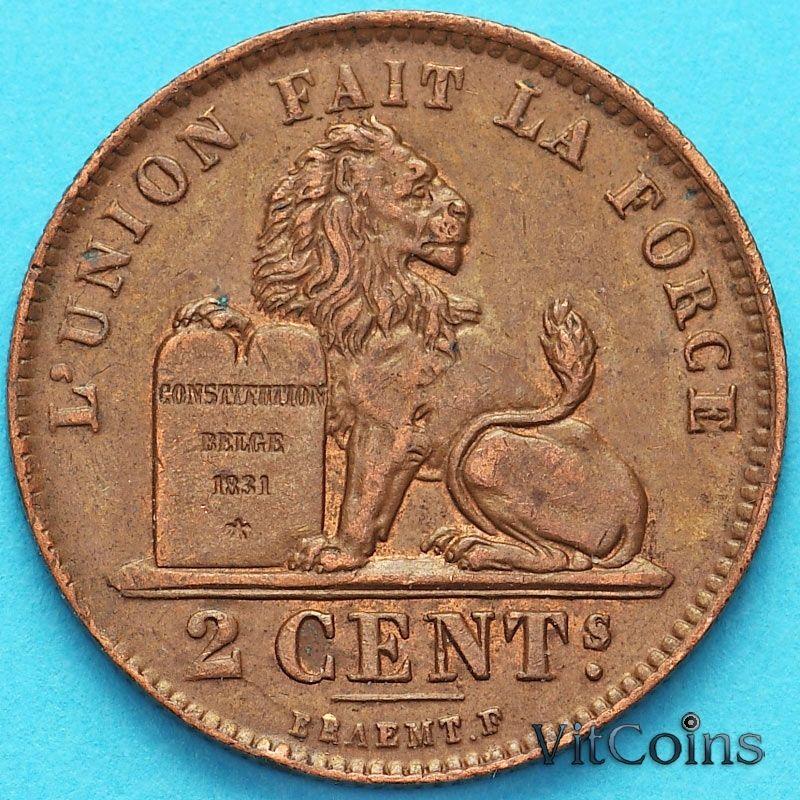 Монета Бельгия 2 сантима 1919 год. Французский вариант XF+