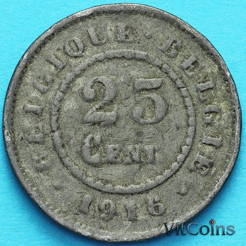 Монета Бельгия 25 сантим 1916 год. F.