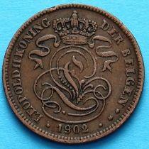 Бельгия 2 сантима 1902 год. Фламандский вариант.