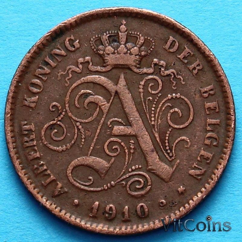 Монета Бельгии 2 сантима 1910 год. Фламандский вариант