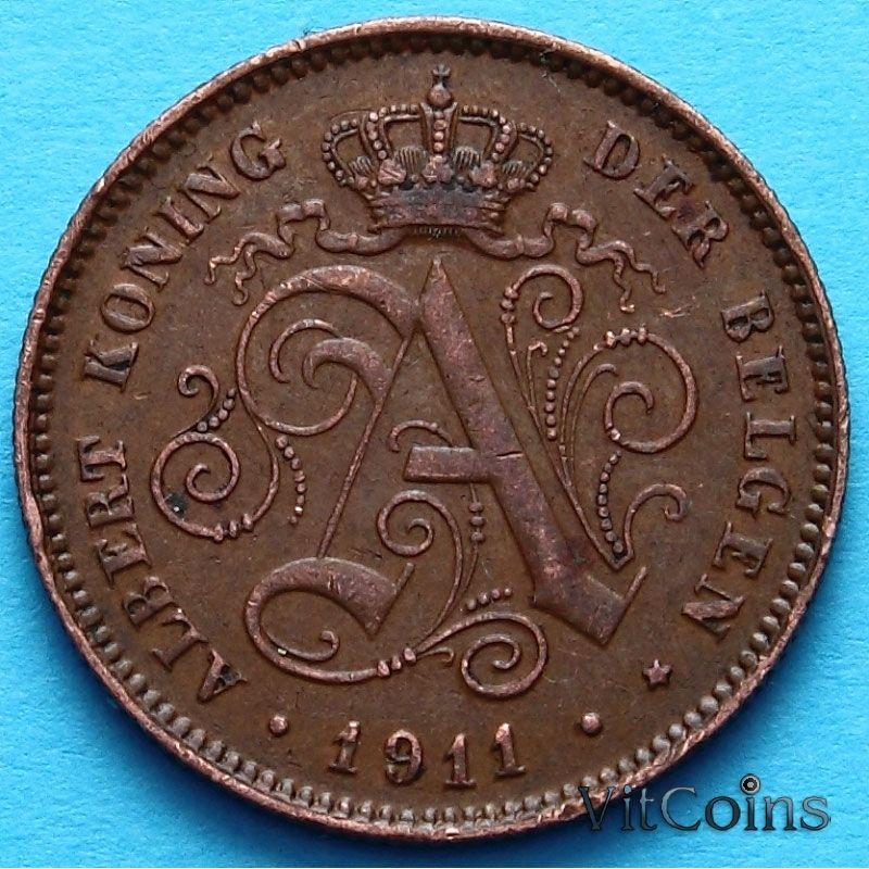 МонетаБельгия 2 сантима 1911 год. Фламандский вариант. VF