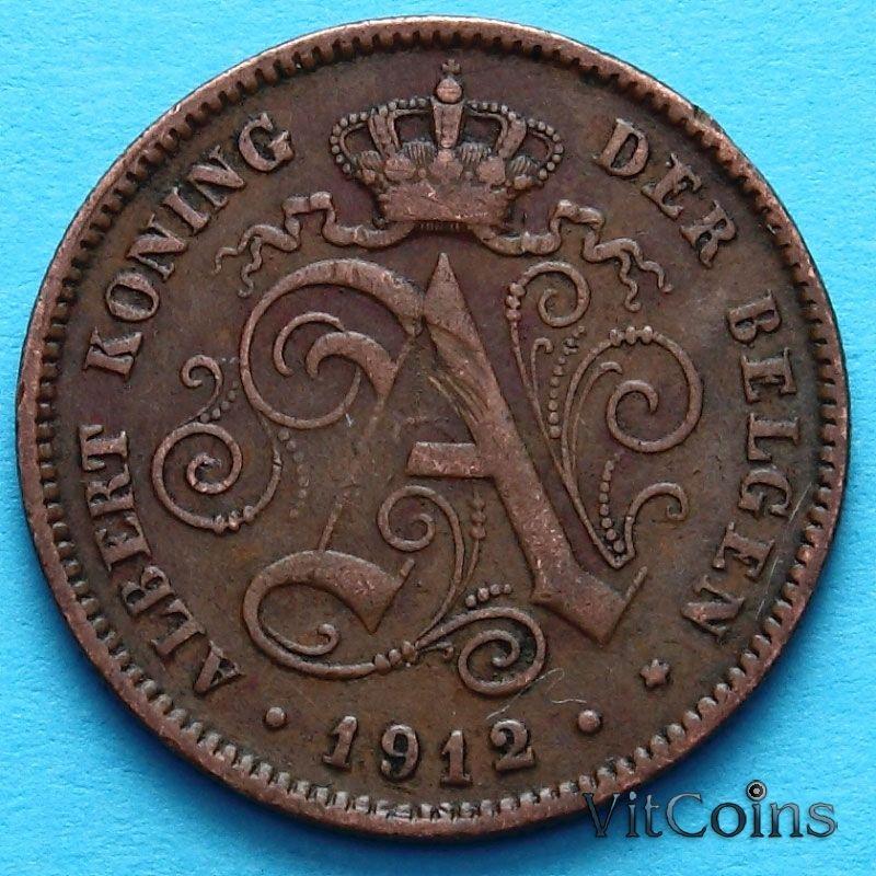 Монета Бельгии 2 сантима 1912 г. Фламандский вариант