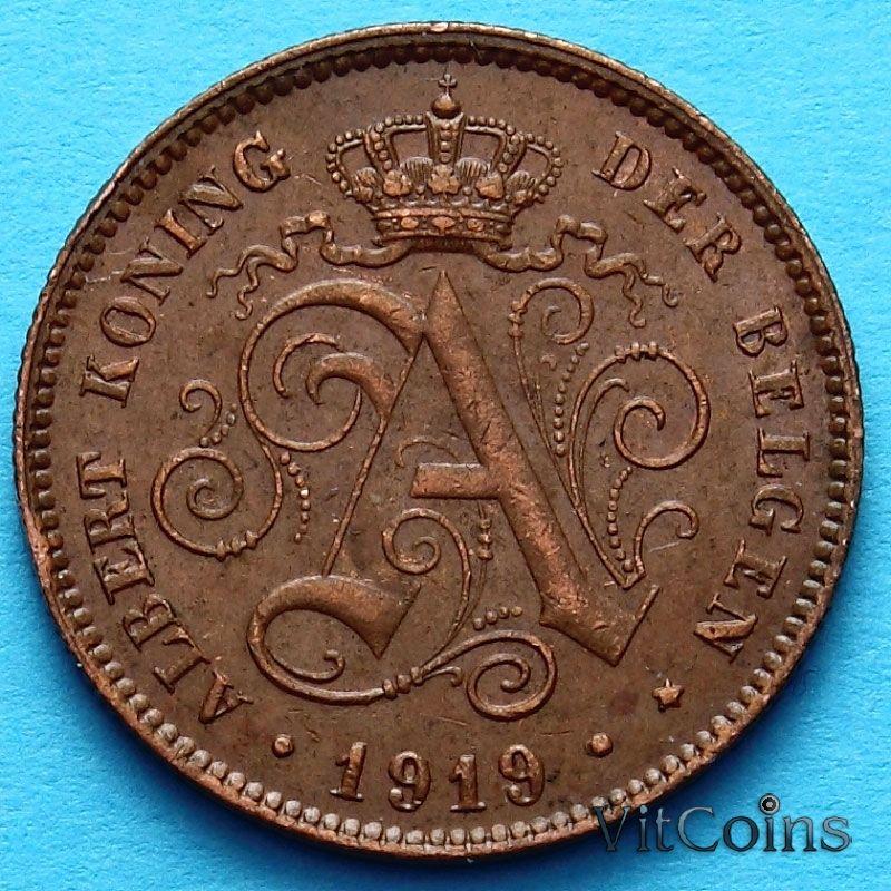 Монета Бельгии 2 сантима 1919 год. Фламандский вариант