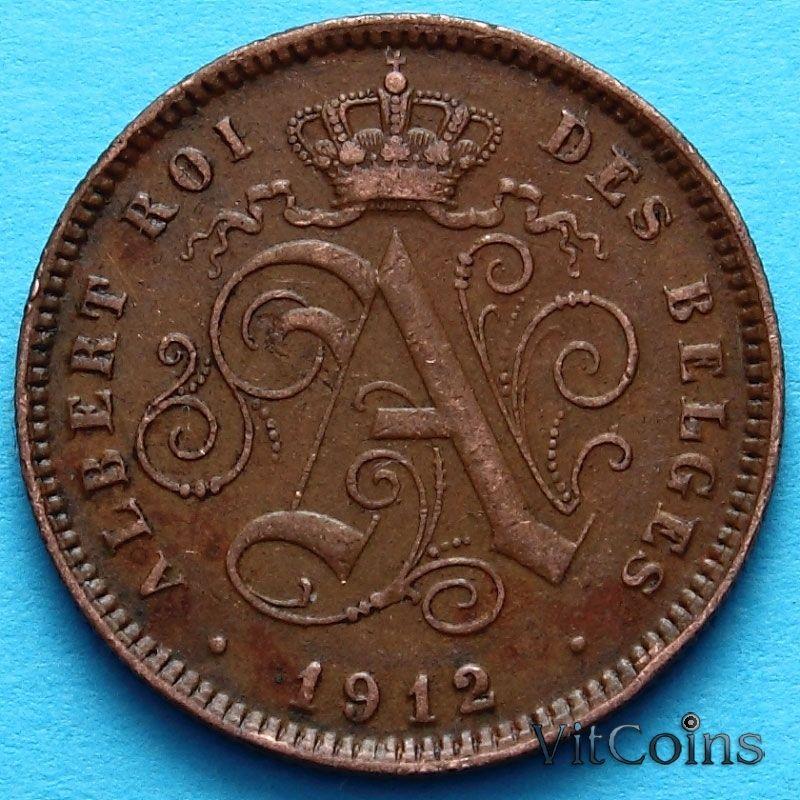 Монета Бельгии 2 сантима 1912 год. Французский вариант