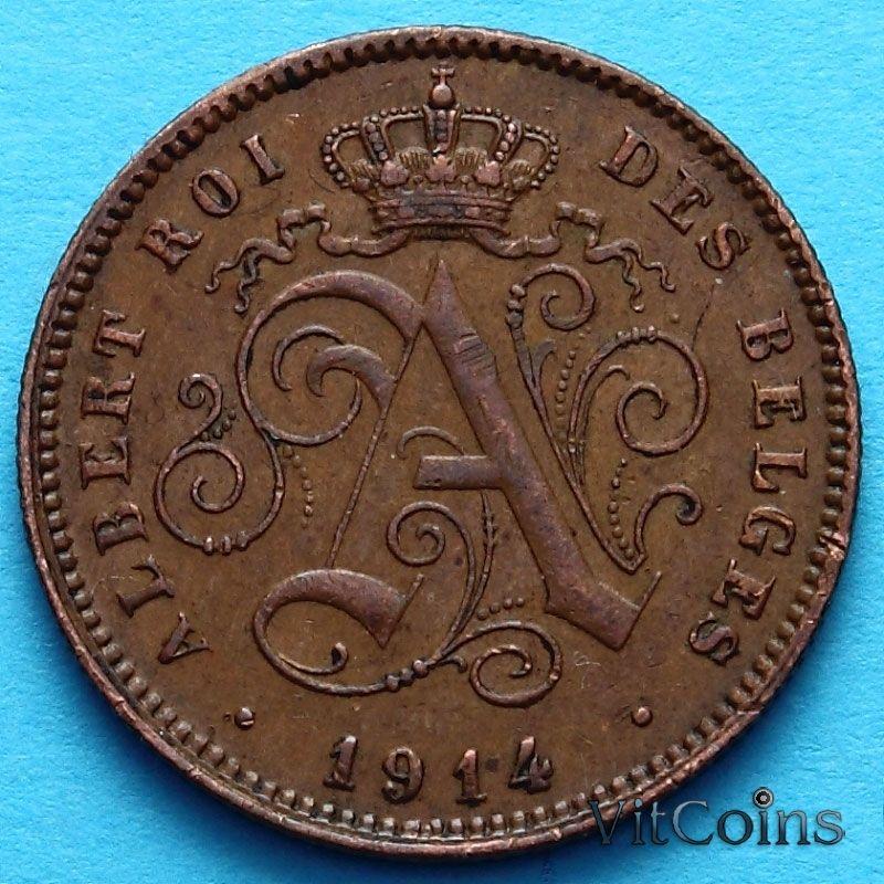 Монета Бельгии 2 сантима 1914 год. Французский вариант