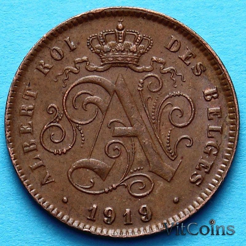 Монета Бельгии 2 сантима 1919 год. Французский вариант
