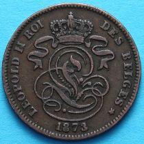 Бельгия 2 сантима 1873 год. Французский вариант.